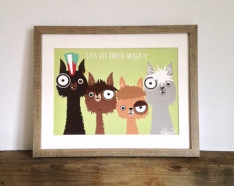 Quirky, fun and bold alpaca illustration print.