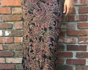 90s Express Paisley Print Skirt // Vintage Express Pencil Skirt // Size S