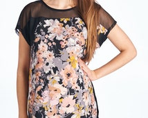 Hello Miz Woven Floral Print Top With Mesh Shoulder And Back Key Hole Detail