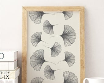 Flower Poster Ginko Leaf Pattern, Ginko, Wall Decor, Wall Art, Plant Print, Plant Wall Art, Botanical Poster, Botanical Print.
