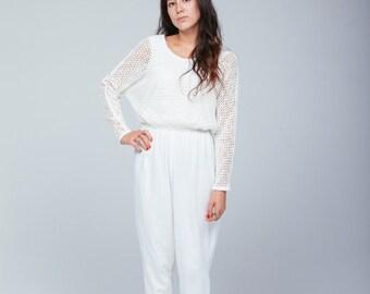 ON SALE** 90s white net jumpsuit