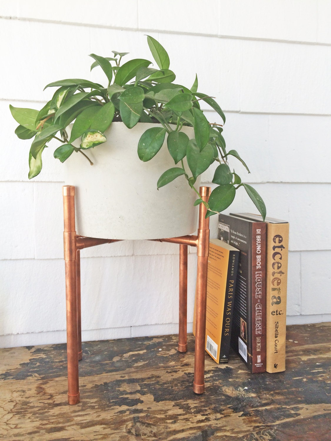 Copper and Concrete Planter Modern Plant Stand Planter
