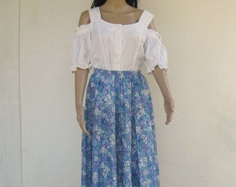 Vintage midi SKIRT pattern blue flowers pleated spring summer skirt