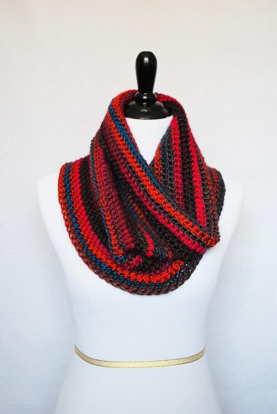 Pink Orange Blue Crochet Scarf, Crochet Cowl, Striped Neck Warmer, Infinity Scarf - Rainbow, Bright Pink, Multi-Colored