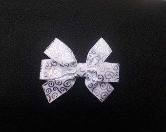 White Silver Foil Hairbow