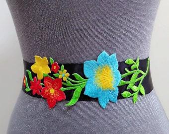 Flower belt, Floral belt, Bridal flower sash, Floral sash, Flower sash, Flower sash belt, Embroidery flower belt, Black sash belt