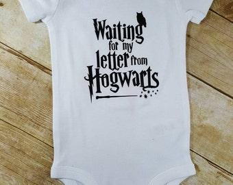 Funny Baby Bodysuit Waiting on my hogwarts letter wand owl Harry Potter baby bodysuit Harry Potter Baby Gift Harry Potter Baby
