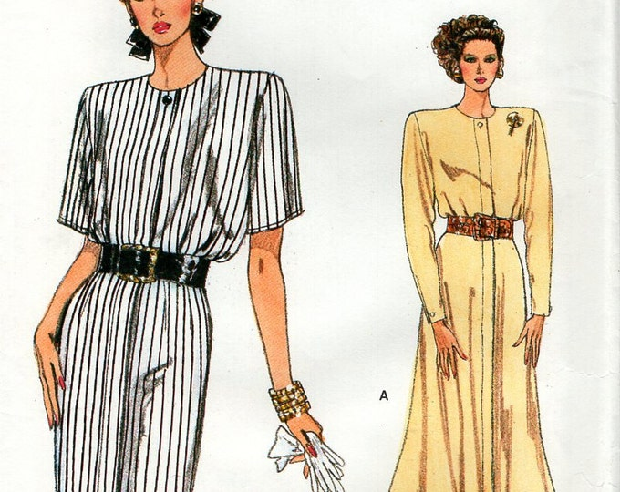 Free Us Ship Sewing Pattern Vogue 9830 Retro 1990s 90's Shoulder Pad Dress Size 8 10 12 Bust 31.5 32.5 34 Uncut Out of Print 1997