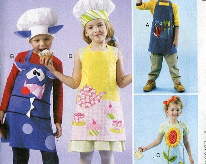 FREE US SHIP McCall's 6476 Boy Girl Monster Tool Flower Garden Apron Chef Hats Girl or Boy Uncut Sewing Handmade Craft Pattern