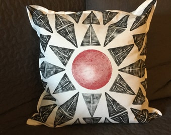 Hand printed pillow case