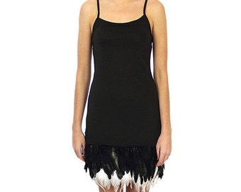 Majica- Feathered Dress- Black with Black Feathers