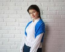 Navy Blue Bolero Scarf Shawl Neckwarmer gift for Women Fashion Mom Knit shrug.Mohair vest,boucle jacket.March trends.Mathers day.Blue Jacket
