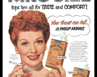 1953  Print Ad Philip Morris Cigarettes Lucille Lucy Ball