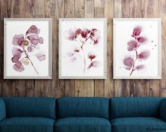 set of 3 flower WINE paintings, COFFEE PAINTINGS, pink flower painting, abstract flower painting, abstract flower print