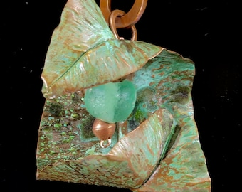 Fold formed copper leaf with Tiffany green patina pendant necklace