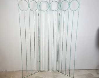 Vintage 3 Panel Room Divider Metal Gate Mint Green Aqua Geometric Pattern Mid Century Modern Art Deco Shabby Chic Livingroom Bedroom Decor