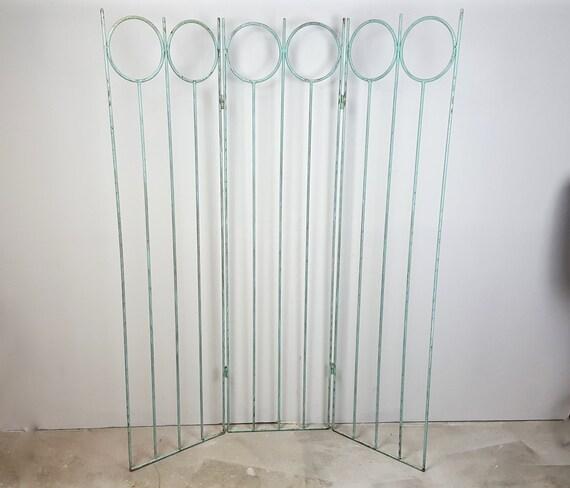 Jahrgang 3 Panel Raumteiler Metalltor Mint grünes von CurioBoxx