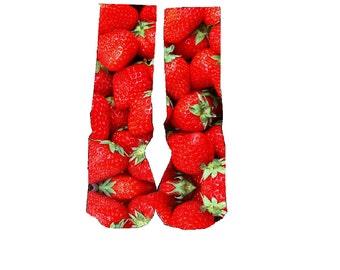 Custom Strawberry socks; fruit socks, wedding socks, birthday gift