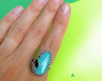 Sterling Silver Ring with Blue Diamond Turquoise
