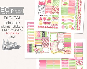 6275ee8990c2 Pink Watermelon printable planner stickers