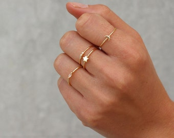Minimal rings set of 5 gifts for women stacking rings for Women s minimalist jewelry