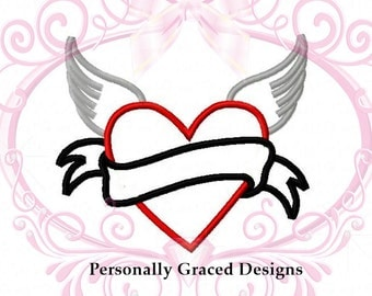 Instant Download Heart with Wings and Banner Machine Applique Embroidery Design 4x4, 5x7, 6x10 Winged Heart, Tattoo Heart, Banner Heart