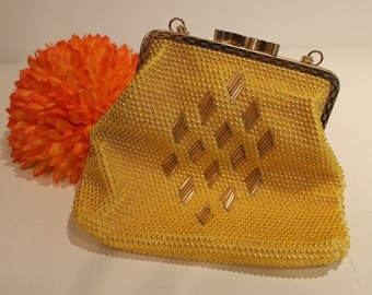 Vintage Gold and Yellow Beaded Handbag Golden Purse - Free Shipping within Canada and the USA