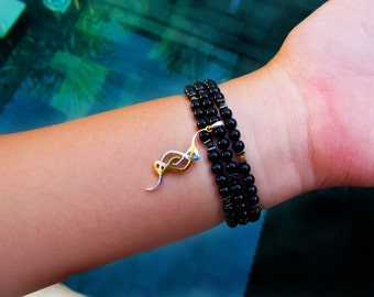Black Onyx Multifunctional Jewellery with Silver/Gold Pendant useable as Necklace, Bracelet & Anlet