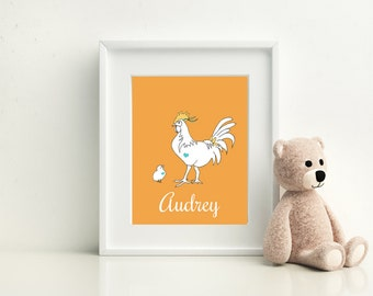 Personalized Prints for Kids/ Babies, Rooster Parent & Child Print - Available in Four Colors