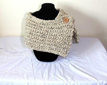 "Handmade Crochet Birch Cowl, Lion Brand Wool Ease in Oatmeal, Large / Adult Size 31"" Long x 9 1/2"" Wide"