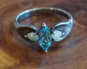 Sterling Silver Blue Topaz & Opal Size 10