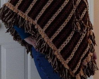 Vintage Crochet Poncho, Brown Poncho, Fall Outerwear, Boho Poncho