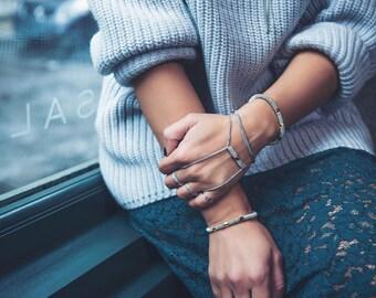 Urban stainless steel handlet - adjustable chain handbracelet