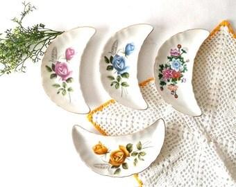 4X Half Moon CONDIMENTS SERVING DISHES Porcelain White Flowers Vintage kitchen decor