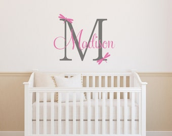 Nursery Wall Decal,Dragonfly Wall Decal, Personalized Name Wall Decal, Dragonfly Name Decal, Dragonfly Decal
