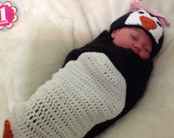 Baby Penguin Cocoon Hat Set