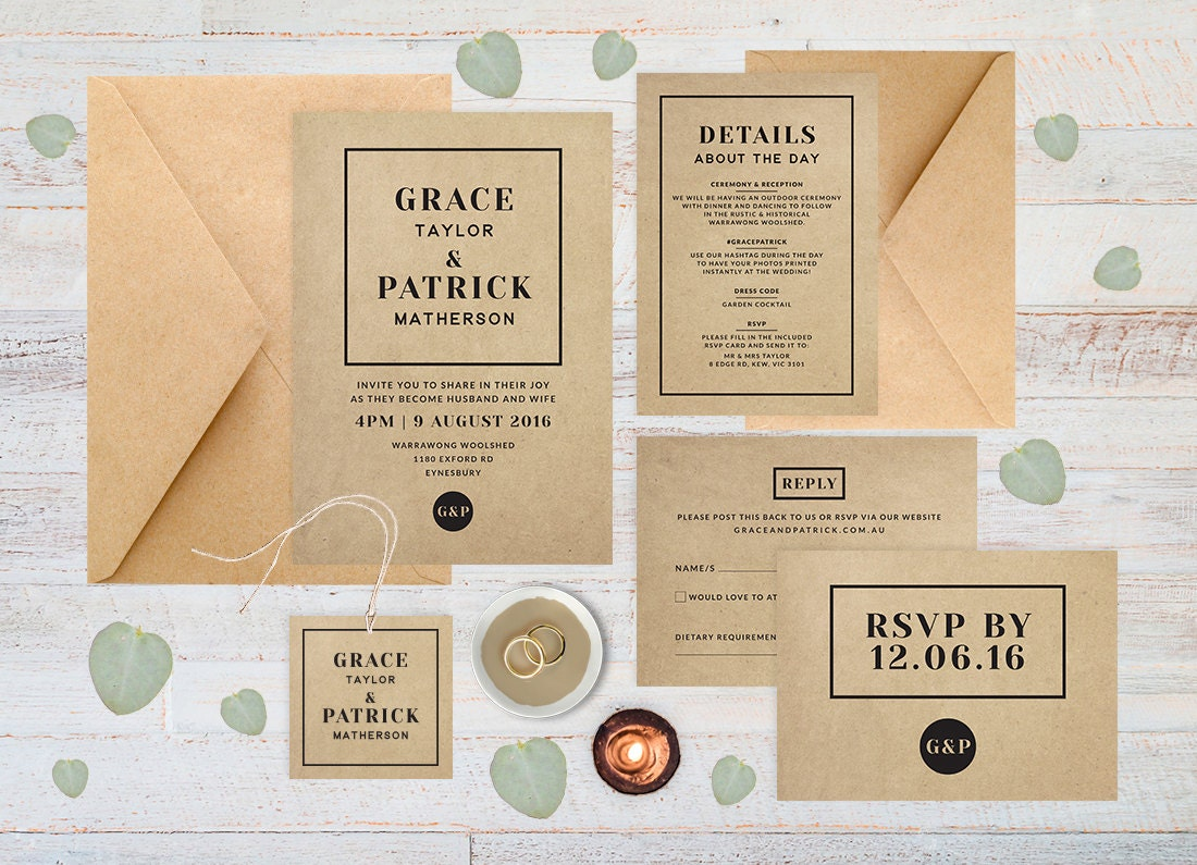 Wedding invitation set, Rustic wedding invitation set, Wedding set, Kraft paper wedding invitation, Printable wedding invitation set