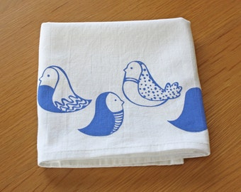 100% Cotton Tea Towel - Screen Printed Birds in Periwinkle Blue