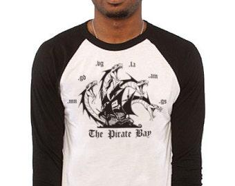 The Pirate Bay Serpent Design Baseball Raglan T Shirt ~ NEW ~ Small to 3XL