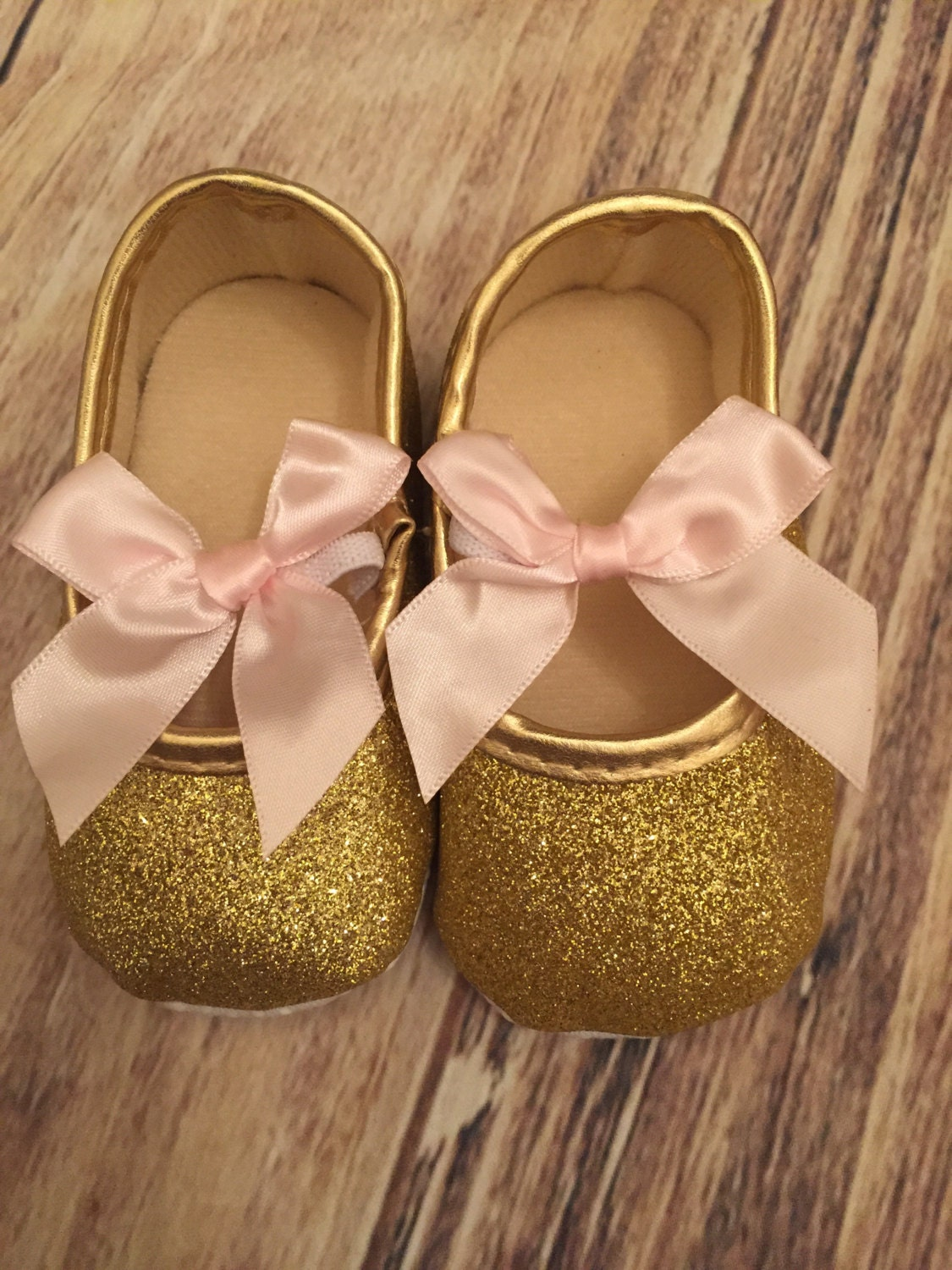 Gold baby shoes | Etsy