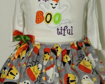 Girls Halloween dress, Toddler Halloween dress,Ruffle dress, Halloween shirt,Ghost Shirt,Halloween Ghost bodysuit,Baby girl Halloween dress