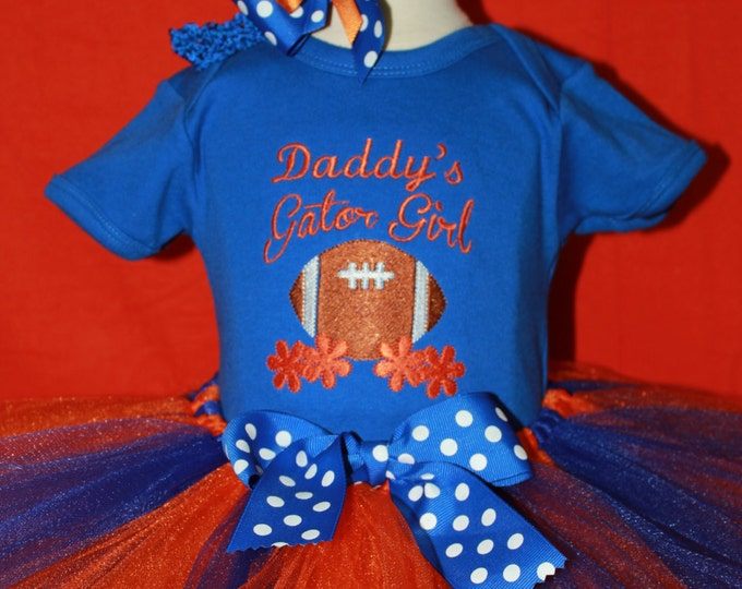 Daddy's Gator Girl outfit, Florida Gators, Gator Girl outfit, Gator orange and blue tutu, UF, University of Florida Baby Gator Bodysuit