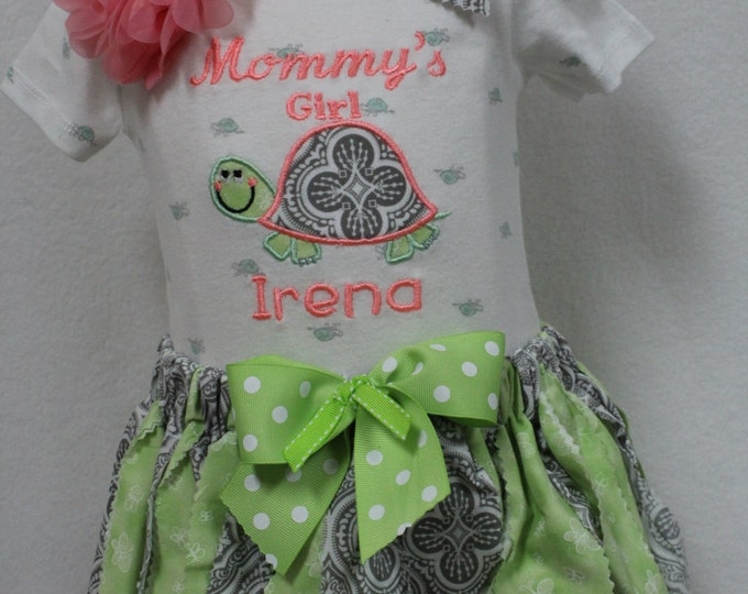 Turtle Applique baby girl outfit, Turtle bodysuit for newborn, Lime green rag style tutu,matching lime green headband,Personalized bodysuit