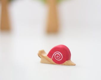 Wooden snail toy Animals figurine Waldorf nature table set Toys for toddlers Eco friendly Gift idea Play Space
