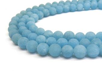 Blue Jade, Matte Beads, 8mm Beads, Jade Beads, Frosted Beads, Light Blue Beads, Matte Jade, Sky Blue Beads, 10mm Beads, Jade Gemstone, 16 in