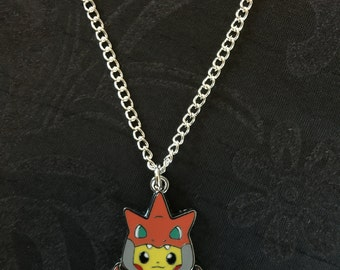 Silver Plated Nintendo Pokemon Cosplay Pikachu Charizard Necklace