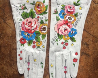 Painted wearable gloves sz 6.5, unlined, white leather, wedding, vintage floral, fashion, wearable art, keepsake, one of a kind