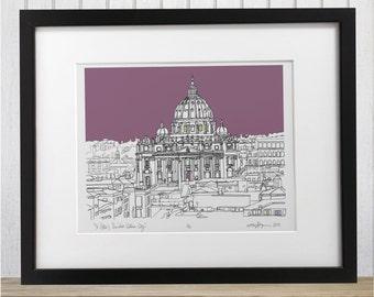 Vatican St Peter's Basilica doodle print