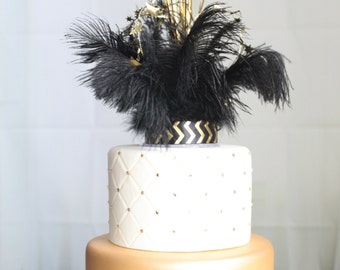 Gatsby, Flapper, Roaring 20's  feather & sparkler cake topper, overthetopcaketopper