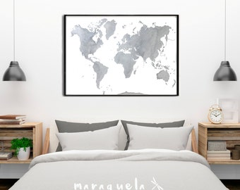 World map painting etsy original world map gray with silver highlights watercolor handmade large wall watercolor gumiabroncs Image collections